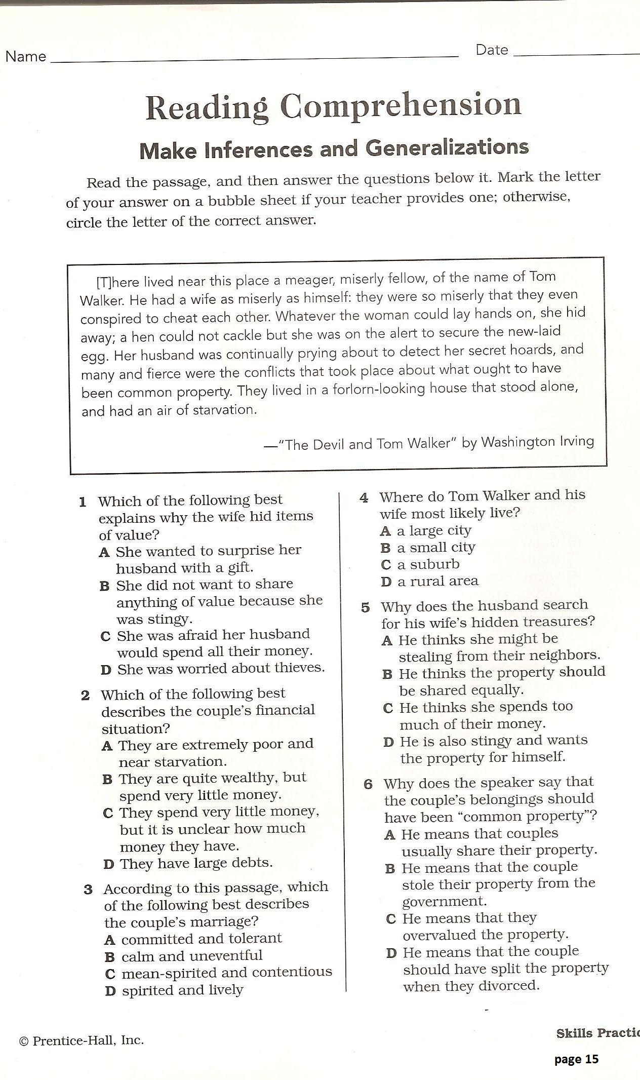 Worksheets Making Generalizations Worksheets canyon high school standardized testing star test schedule reading comprehension making inferences generalizations pdf
